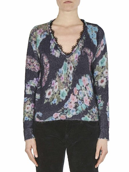 Printed sweater with lace - Black