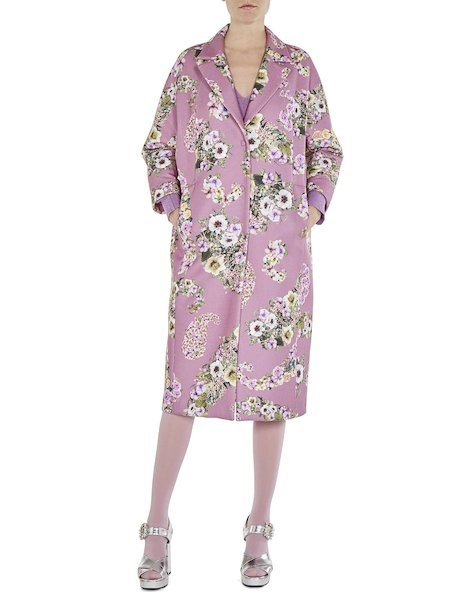 Floral-print overcoat