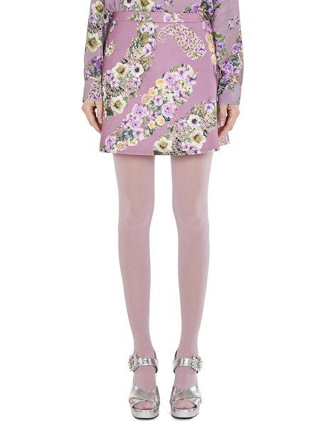 Short floral-print skirt