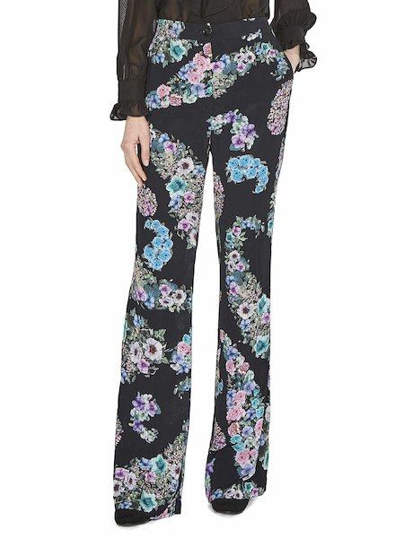 Wide-leg trousers with floral print - Black