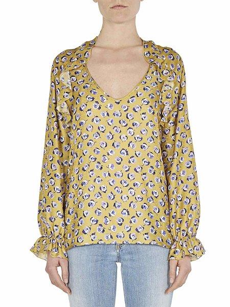 Floral-print blouse with flounces