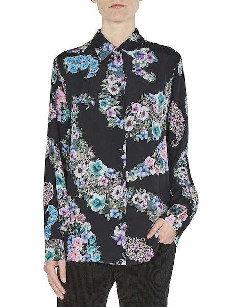 Платье-рубашка с принтом бутонов