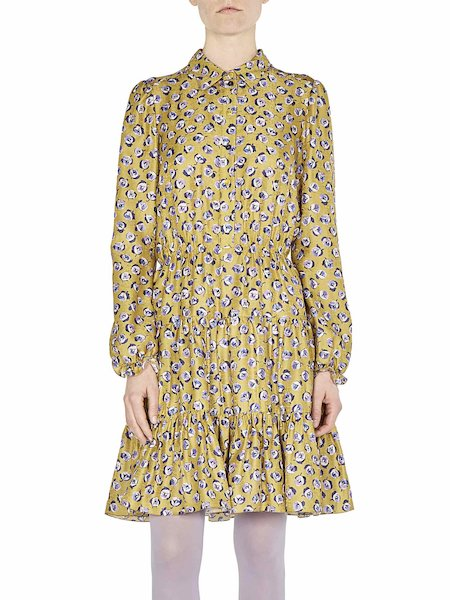 Coat dress with dainty bud print - yellow
