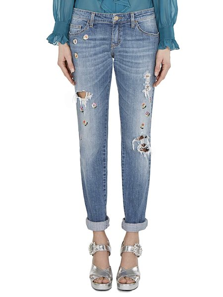 Jeans with tears and flowers