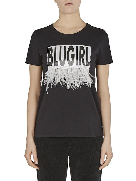 T-shirt imprimé orné de plumes