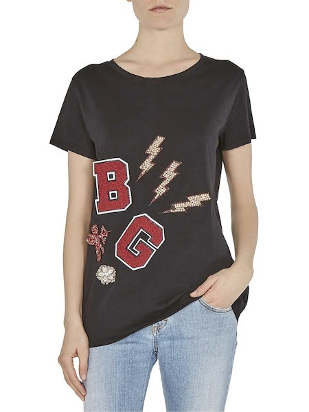 T-shirt with rhinestones and applications