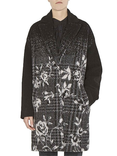 Jacquard overcoat with roses