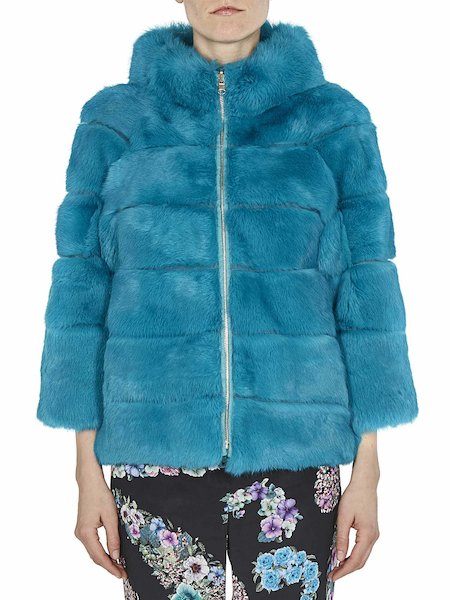 Short reversible fur coat - blue