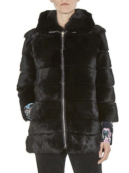 Long reversible fur coat - Black