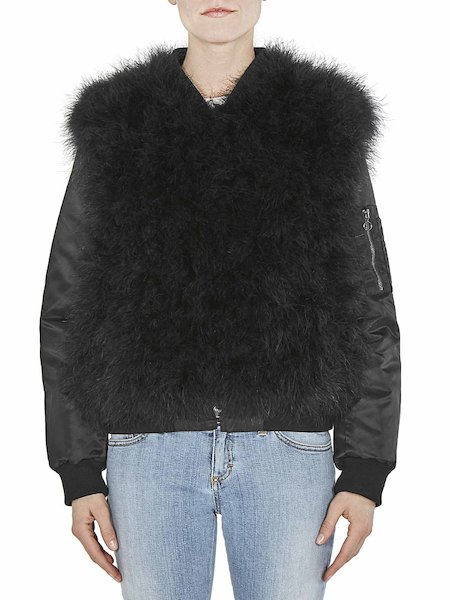 Reversible bomber jacket with feathers