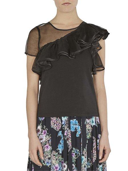 Single-shoulder effect blouse with flounce