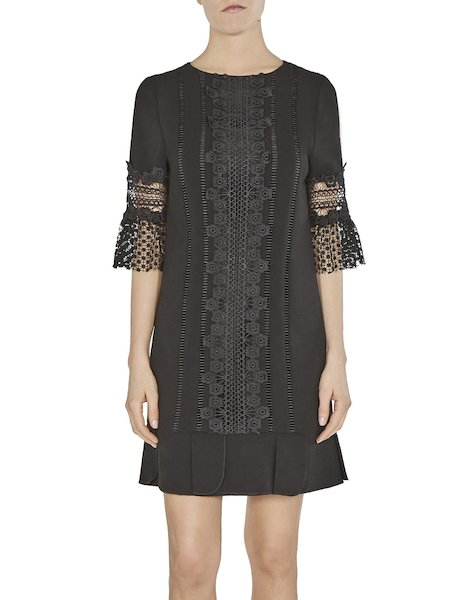 Sack dress with lace insets - Black