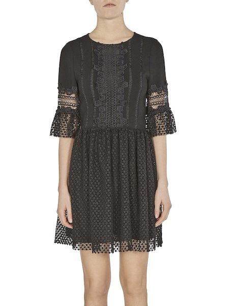 Dress with lace insets
