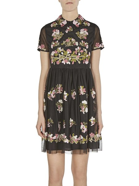 Short dress in tulle with embroidery - Black