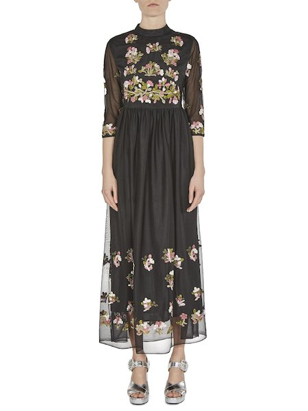 Midi-dress in tulle with embroidery - Black
