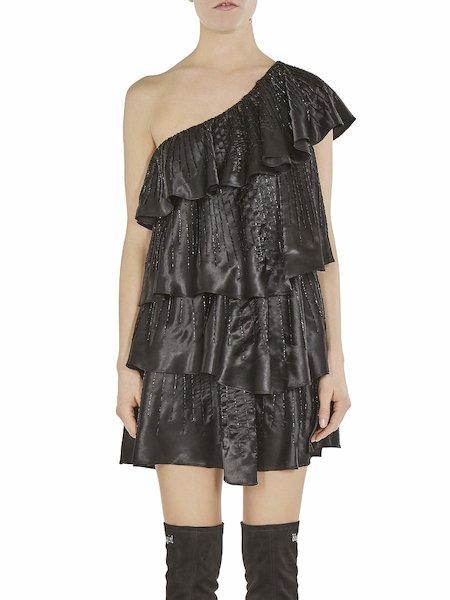 Single-shoulder dress with flounces