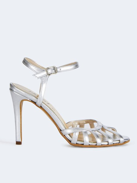 Metallized sandals with ankle strap