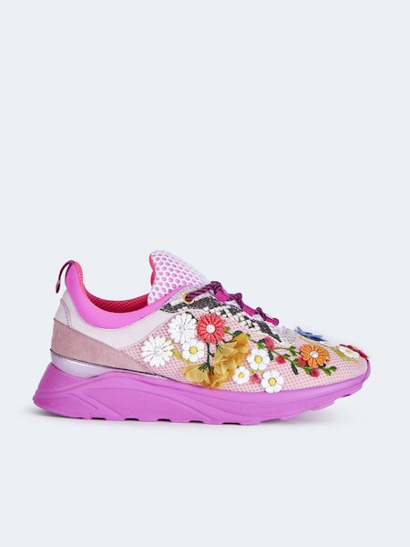 Sneakers with floral embroidery - pink