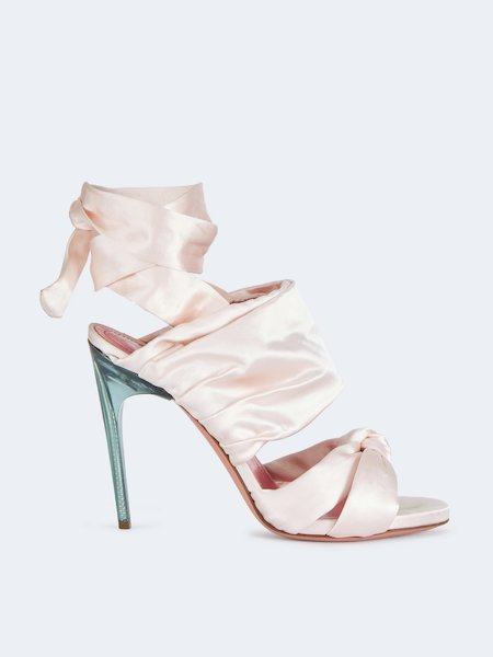 Sandals with ribbon and stiletto heel - pink