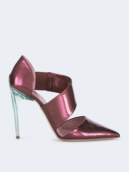 Pumps in patent leather with stiletto heel - pink