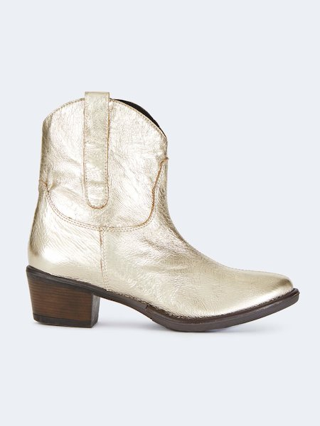 Texan ankle boots in gold-laminate eco-leather