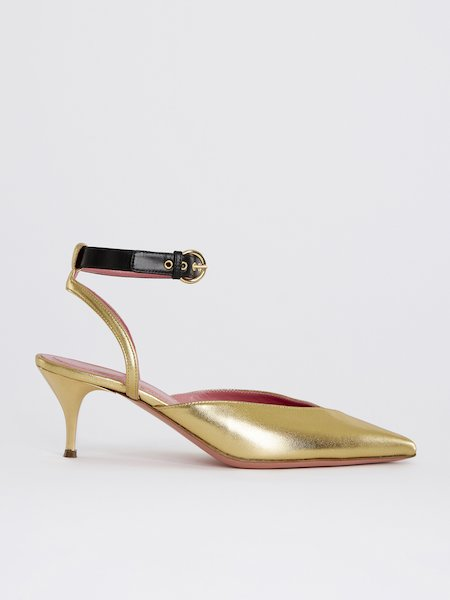 Laminated sandals with ankle strap