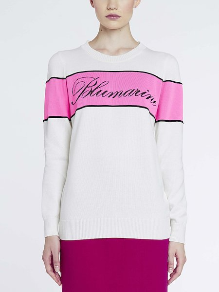 Sweater with inset and logo - pink