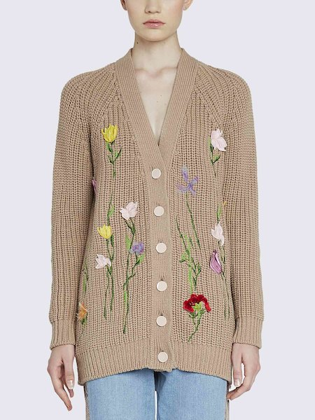 Knit cardigan with embroidered flowers - Brown