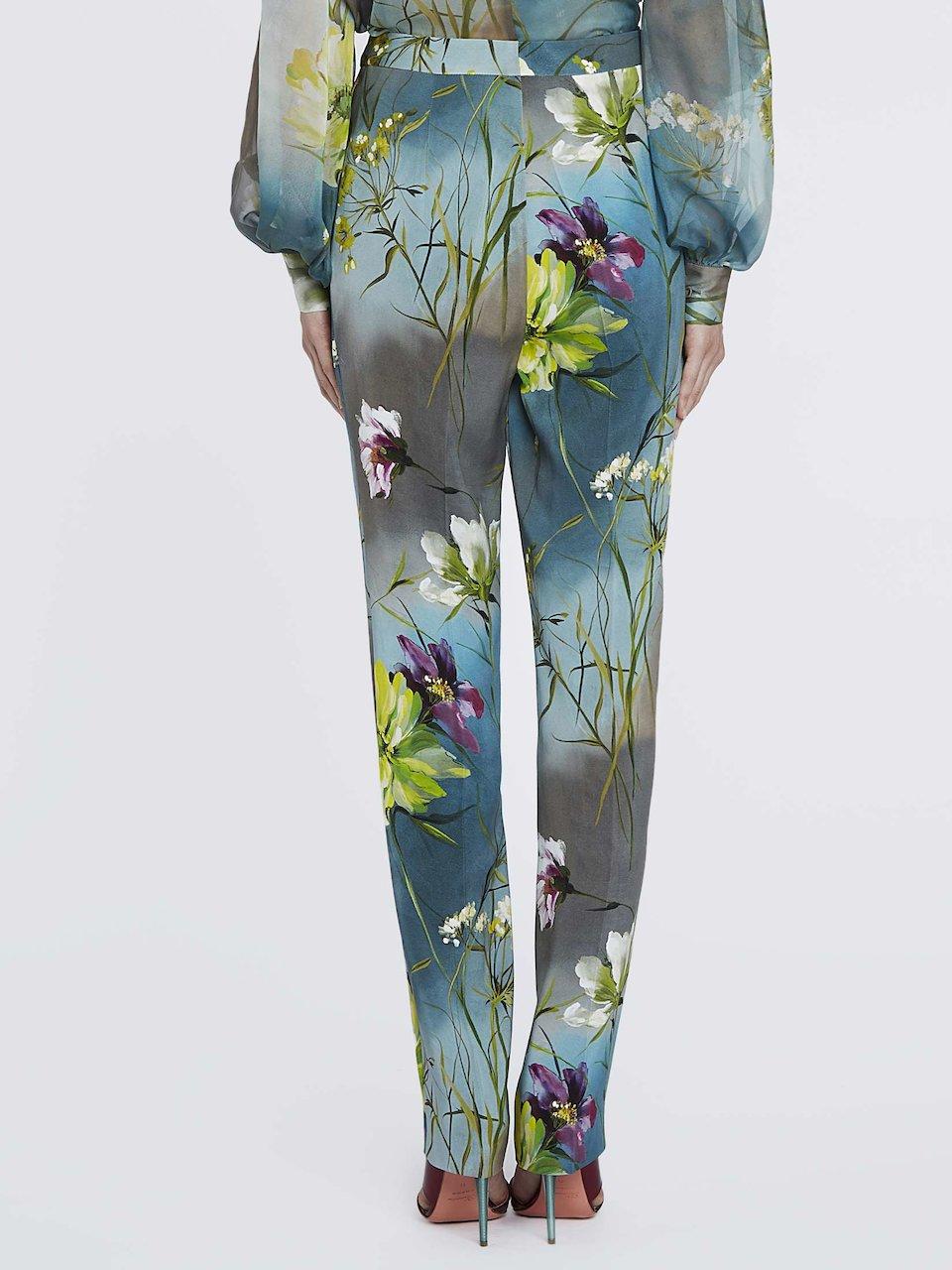 ef8934ba57e5a Pantalon Cigarette De Tailleur Imprimé À Fleurs   Blumarine Shop Online