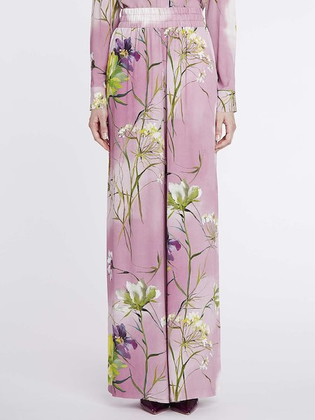 Full-cut trousers with floral print - pink
