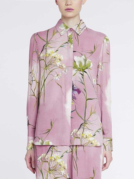Camisa con estampado de flores - Rosa