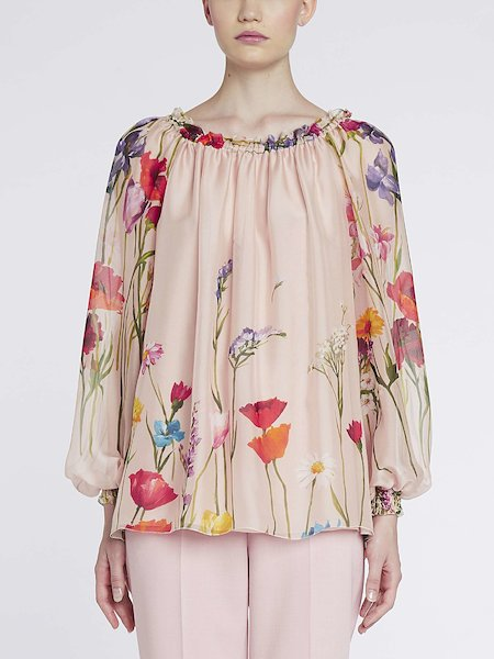 Roomy blouse with floral print - Multicolored