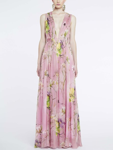 Vestido largo con estampado de flores