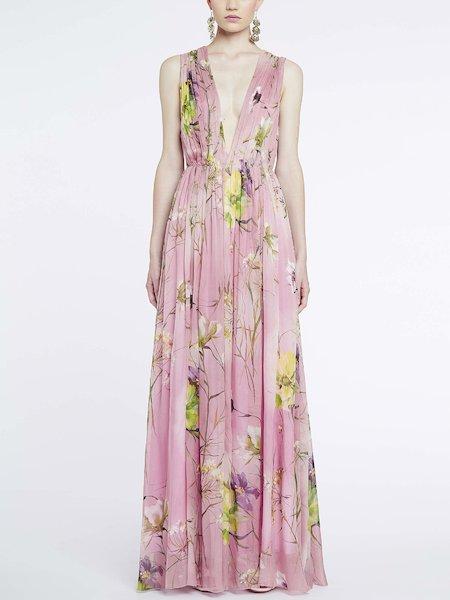 Vestido largo con estampado de flores - Rosa