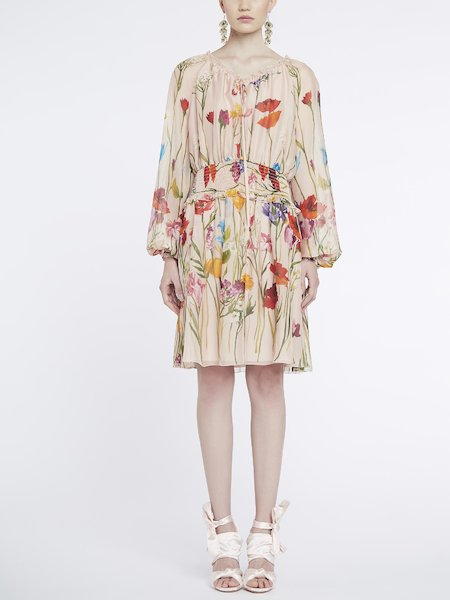 Vestido hasta las rodillas con estampado de flores - Multicolor