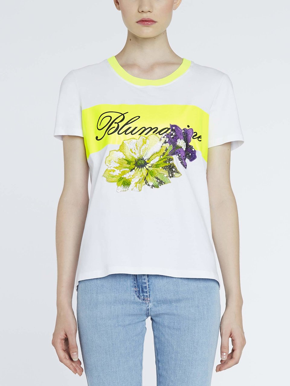 2f1b1cb1e7 T-Shirt With Contrasting Band And Logo | Blumarine ®