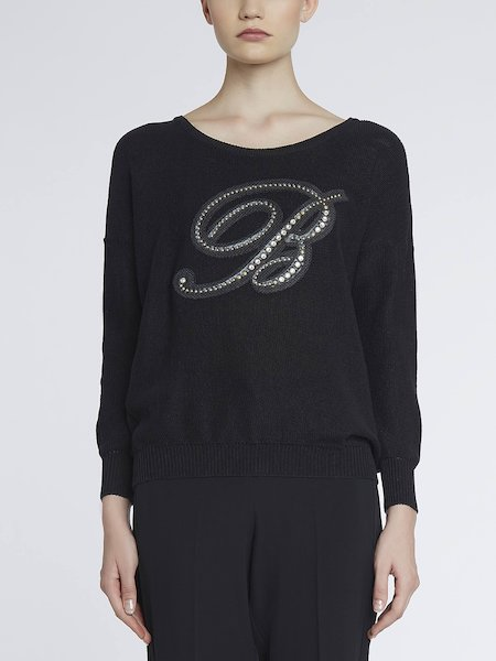 Sweater with rhinestone monogram