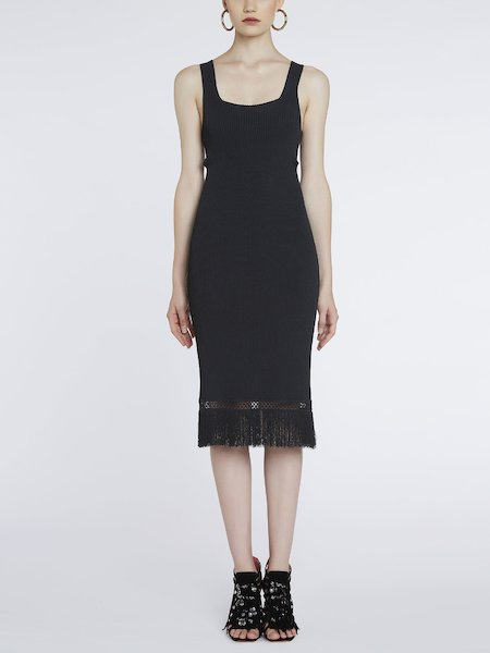 Knit dress with openwork and fringe - Black