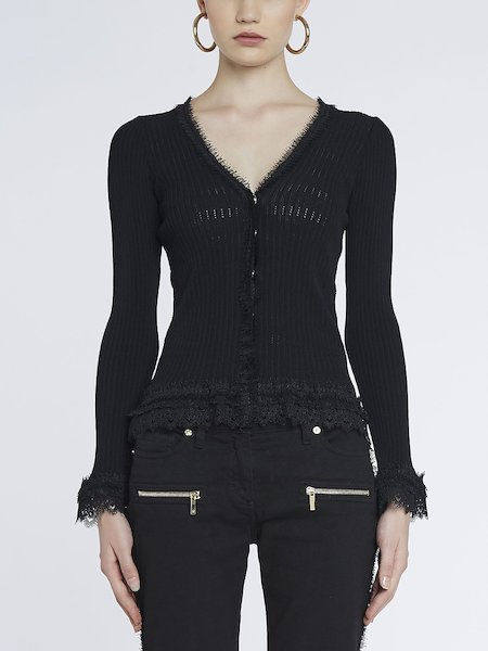 Cardigan with fancy trim and lace - Black