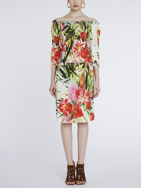 Dress with tropical-flower print - Multicolored