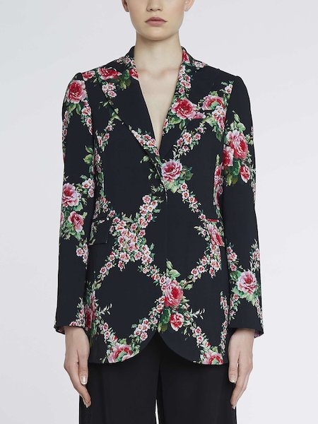 Suit jacket with rose print - Black