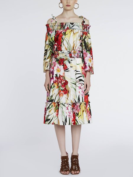 Midi-dress with tropical flower print - Multicolored
