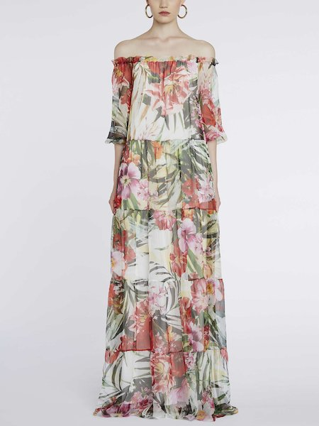 Long dress in tropical-flower print - Multicolored