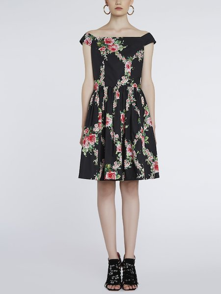 Dress in rose-print cotton