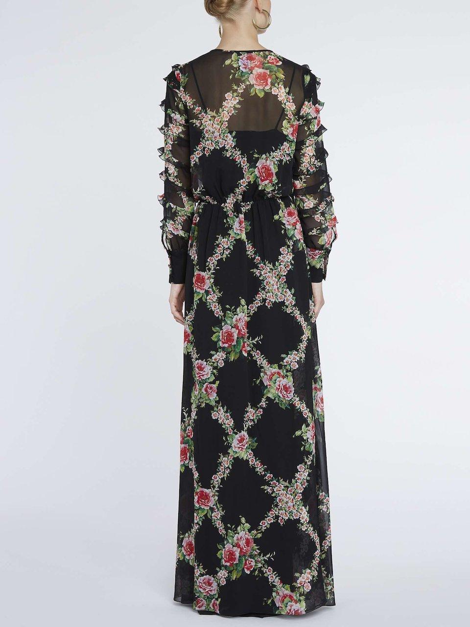 Vestito Lungo In Seta Stampa Rose  35992fe848f