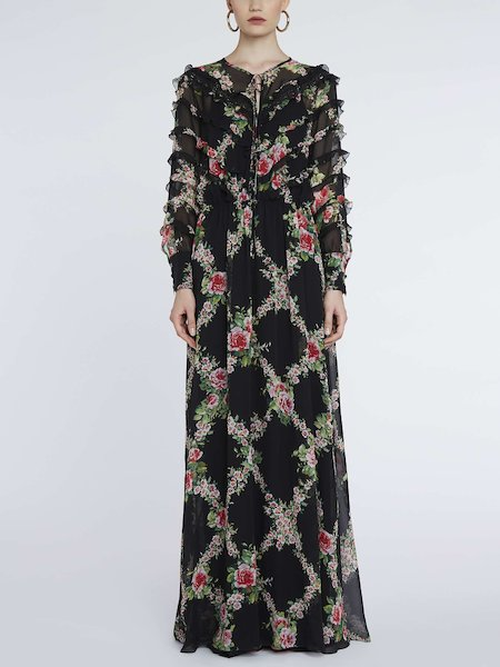 Long dress in rose-print silk