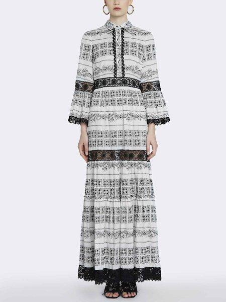 Long bandana-print dress with lace
