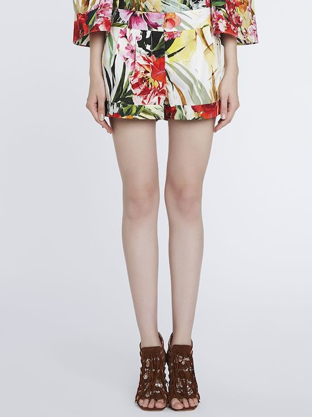 Shorts in Cotone Stampa Fiori Tropicali