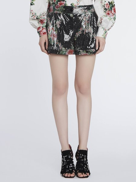Sequined shorts with rose prints - Black