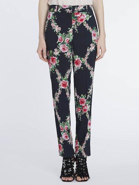 Pantalones de traje sastre con estampado de rosas